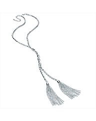 Silver Coloured Tassle Chain Necklace