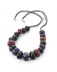 Purple Tone Marble Effect Cord Necklace