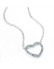 Silvered Coloured Heart Pendant