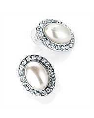 Pearl effect clear glass Stone Earrings