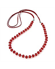 Red Glass Beaded Cord Necklace