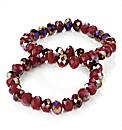 2pc Red Glass Elastic Bracelet Set