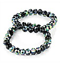 2pc Black Glass Elastic Bracelet Set