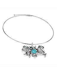 Silver and Turquoise Colour Owl Collar