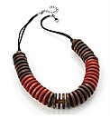 Red Wood Effect Disc Necklace