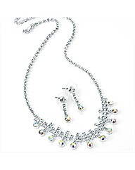 Silver Coloured Necklace and Earring Set