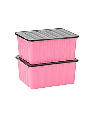 2 x 48 Litre Pink Plastic Storage Boxes