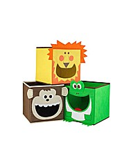3 Pack of Canvas Storage Boxes - Safari