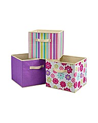 3 Pack of Canvas Storage Boxes - Purple
