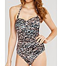Abstract Print Bandeau Shaping Swimsuit