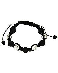 Black and White Crystal Balls Bracelet