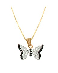 9ct Gold Black&White Butterfly Necklace