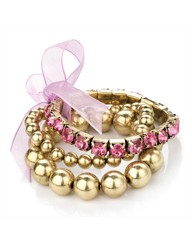 3 Pc Gold Coloured Pink Bracelet Set
