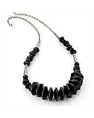 Silver Coloured Jet Bead Necklace