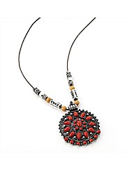 Silver Coloured Coral Bead Disc Necklace