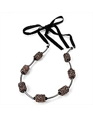 Copper Coloured Black Bead Necklace