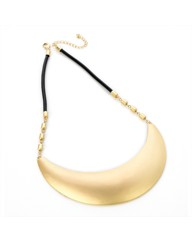 Gold Coloured Half Moon Cord Necklace