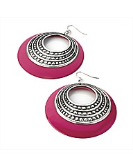 Silver Effect Fuchsia Round Earrings