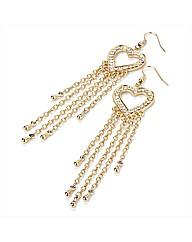 Gold Coloured Chain Heart Earrings