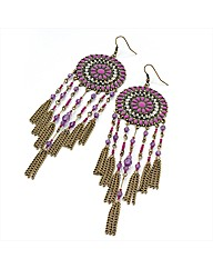 Gold Coloured Fuchsia Chain Earrings