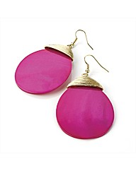 Fuchsia Shell Effect Oval Earrings
