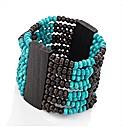 Turquoise Wood Look Elastic Bracelet Set