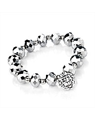 Silver Colour Glass Bead Ball Bracelet