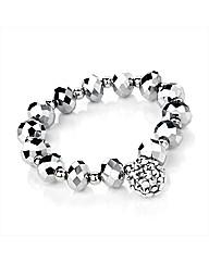 Silver Colour Glass Bead Ball Bracelet