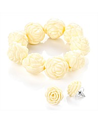 Ivory Colour Flower Bead  Bracelet Set
