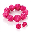 Fuchsia Colour Flower Bead Bracelet Set