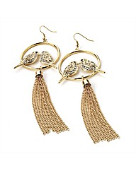 Gold Coloured Bird Tassel Earrings