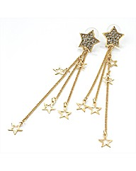 Gold Coloured Star Chain Earrings