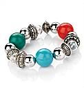 Silver Coloured Beaded Elastic Bracelet