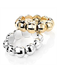 Silver and Gold Coloured Bracelet Set