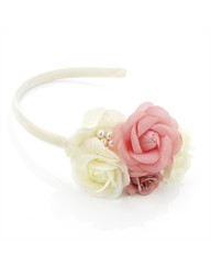 Ivory Coloured Peach Flower Headband