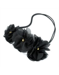 3 Flower Black Elastic Headwrap