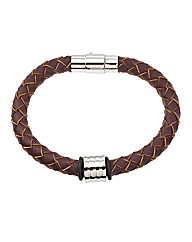 Brown Grooved Bead Bracelet