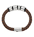 Brown Leather Look Bead Bracelet