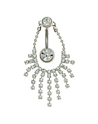 Stainless Steel Crystal Tassle Body Bar