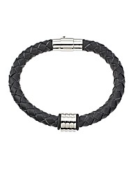 Black Grooved Bead Bracelet