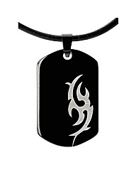 Titanium Gents Tribal Design Dog Tag