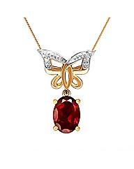 9CT Yellow Gold Garnet Diamond Pendant