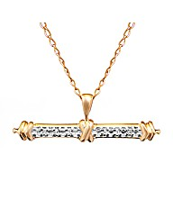 9CT Yellow Gold Diamond T-Bar Pendant