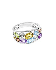 9ct White Gold Multi Stone Band Ring