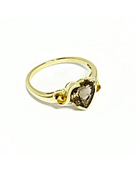 9ct Yellow Gold Stone Set Heart Ring