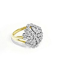 Ladies 9ct Yellow Gold Dia Cluster Ring
