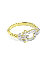 Ladies 9ct Yellow Gold Dia Buckle Ring
