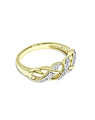 Ladies 9ct Yellow Gold Lattice Dia Ring