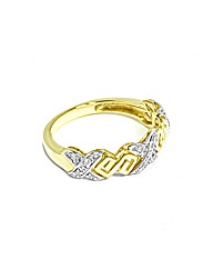 9ct Gold  Diamond Set Kiss Style Ring