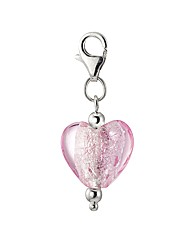 Sterling Silver Pink Murano Heart Charm